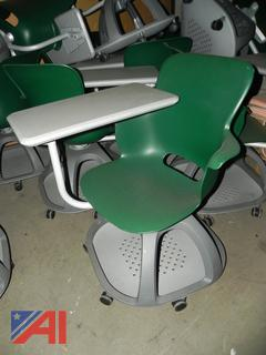 (#19) Green and Grey Rolling Student Desks