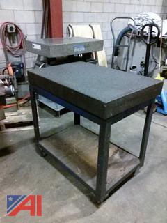 Pyramid Surface Granite Table On Cart w/ Wheels