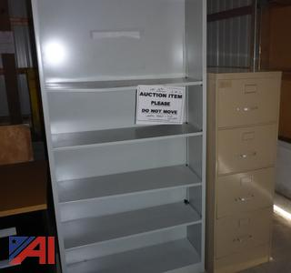 (#1691) Metal Shelf and File Cabinet