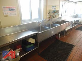 Cafeteria 25' Stainless Steel Sink System