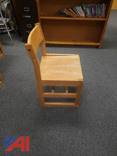 Large Quantiy of Oak Library Chairs and Tables