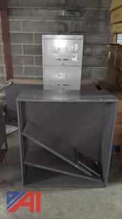 Metal Bookshelves & Filing Cabinet