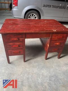 Wooden Teacher Desk and Chair