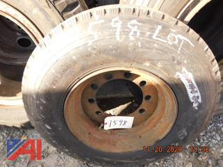 (#1598) Sumitomo 9R17.5 Tire with Rim, New/Old Stock
