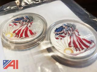 1999 Colorized Painted Walking Liberty 1oz Silver Coins