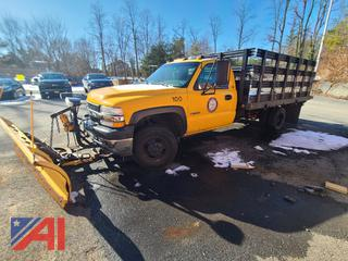 2002 Chevy Silverado 3500 Stake Rack Truck with Plow