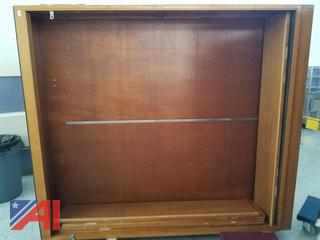 (#1) Glass Front Wood Cabinet