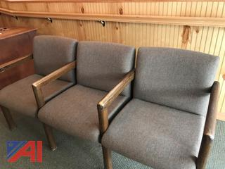 Affixed Brown Fabric Chairs