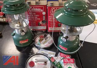 Coleman Lanterns with Fuel Canisters and Spare Parts