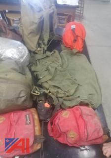 Various Backpacks and Bags with Contents