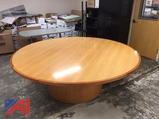 7' Round Wood Conference Table