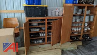 Wooden Cupboards Full of Dishes & Flatware