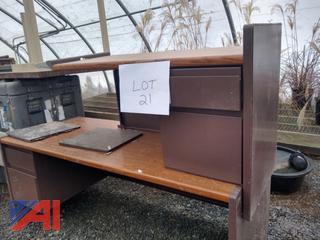 Brown L Shaped 2 Piece Desk