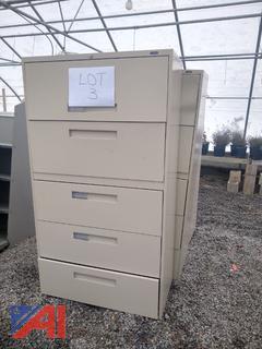 Tan 5 Drawer Metal Cabinets