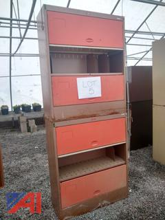 Brown and Orange Cabinets
