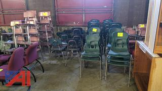 Various Student Chairs & Metal Book Ends