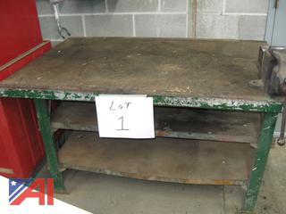 Steel Table with Bench Vice, Assorted Clamps and More