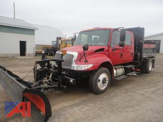 2009 International Dura Star 4300 Series Crew Cab Dump Truck with Plows and Side Spreader