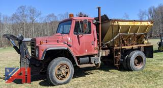 1986 International 1854 Cab and Chassis with Air-Flo Cinder Box Spreader