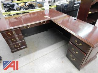 Large Wood Desk With Return