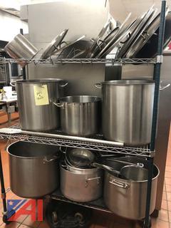 Kitchen Pots, Sauté Pan and Shelf