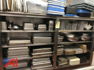 Kitchen Utensils, Pans and Contents on Shelf