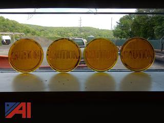 Vintage Traffic Signal CAUTION Lenses
