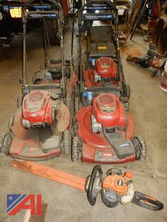 Lawn Mowers and Echo Hedge Trimmer