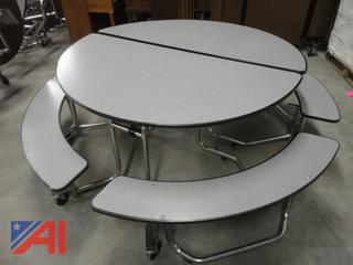 Round Folding Roll Away Cafeteria Tables