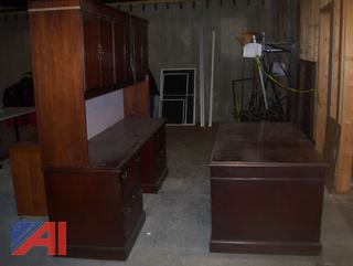 Wooden Desk with Credenza