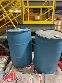 2 Plastic 55 gallon drums