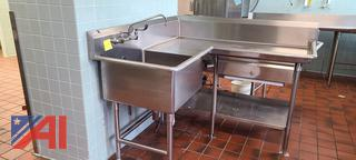 Stainless Counter with Sink and Drawer