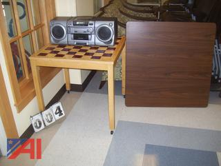 Tables and Boom Box