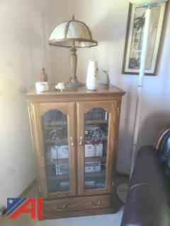 Oak Entertainment Cabinet, Lamps and More