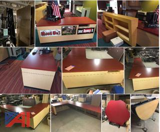 (#3) Various Folding Lunch Tables & Library Reception Desk