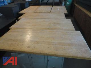 Wood Top Work Tables with Storage Cabinets