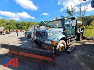(SW-4) 2001 International 4700 Crew Cab Dump Truck with Plow and Sander