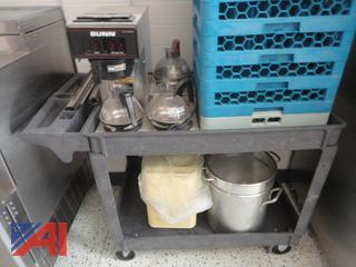 Bunn Coffee Maker, Stainless Steel Table, Racks & Kettles