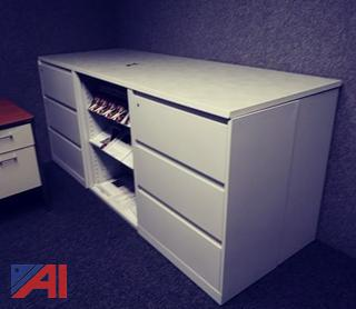 Beige 2-Sided File Cabinet with Shelving
