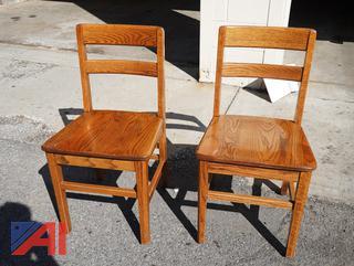 Matching Oak Plank Seat Side Chairs