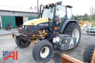 (#9) New Holland TS100 Tractor with Flail Mower Attachment