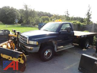 2001 Dodge Ram 3500 Flatbed Truck with Plow