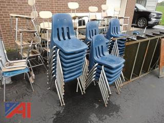Assorted Student Chairs and Shelf