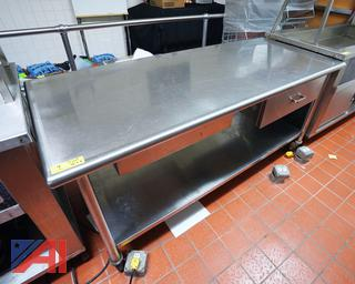 6' S/S Prep Table with 2 Drawers