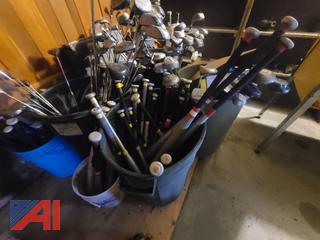 Large Quantity of Golf Clubs and Baseball Bats