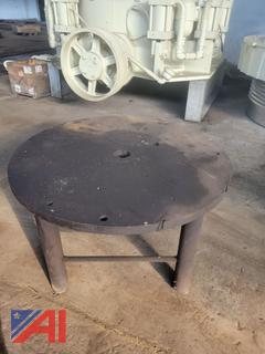 """Round Iron Work Table, 2"""" Thick"""