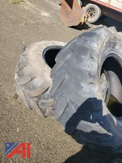 19.5L-24 Rear Tires off JD Backhoe
